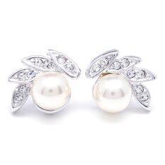 W Jewelry ต่างหูแฟชั่นประดับมุกและคริสตัล Austria รุ่น E0112 สีเงินกึ่งทองคำขาว ถูก