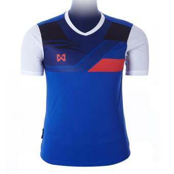 WARRIX SPORT เสื้อฟุตบอลพิมพ์ลาย WA-1524  ( สีน้ำเงิน-ขาว )-