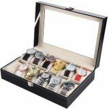 ราคา Watch Box กล่องใส่นาฬิกา กล่องนาฬิกา 12 เรือน ฝากระจก Black