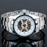 ขาย Winner 340 นาฬิกาข้อมือผู้ชาย ระบบกลไกแบบออโตเมติก โชว์กลไก สไตส์คลาสสิก สายสแตนเลส หน้าปัดสีขาว ผู้ค้าส่ง