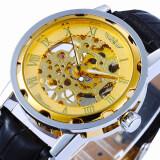 โปรโมชั่น Winner 614 นาฬิกาข้อมือผู้ชาย ระบบกลไกแบบไขลาน โชว์กลไก สไตส์คลาสสิกวินเทจ สายหนังสีดำ หน้าปัดสีทอง ใน กรุงเทพมหานคร