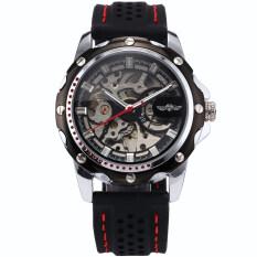 ราคา Winner220 นาฬิกาข้อมือผู้ชาย ระบบกลไกแบบออโตเมติก โชว์กลไก สไตส์คลาสสิก สายยางซิลิโคน หน้าปัดสีดำ ราคาถูกที่สุด