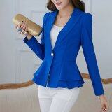 ส่วนลด Women Blazers And Jackets Long Sleeve Slim Blazer Ruffle Short Blazer Single Button For Ladies Ol Work Wear Blue