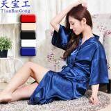 ส่วนลด Women Kimono Robes Knee Length Silk Nightgown Satin Sleepwear Bathrobe