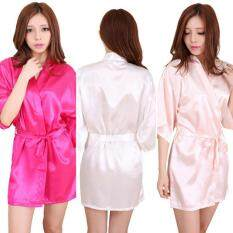 โปรโมชั่น Women Kimono Robes Knee Length Silk Nightgown Satin Sleepwear Bathrobe ถูก
