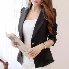 โปรโมชั่น Women Long Sleeve Slim Blazer Flounced Short Blazer Single Button Black