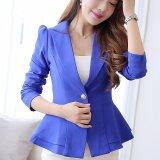 ขาย Women Long Sleeve Slim Blazer Ruffle Short Blazer Single Button Blue ออนไลน์