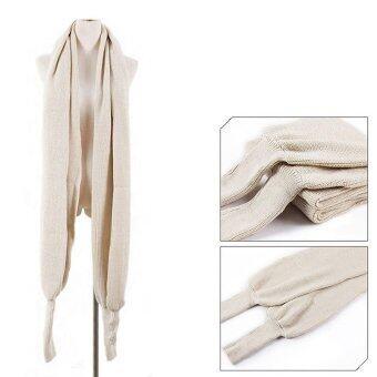 Women Men Winter Warm Soft Knitting Wool Scarf With Sleeve Wrap Shawl Scarves Beige