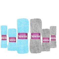 ซื้อ Wonder Towel Plus ผ้าขนหนู สีฟ้าและเทาอ่อน เซต 6 ผืน Wonder Towel Plus ถูก