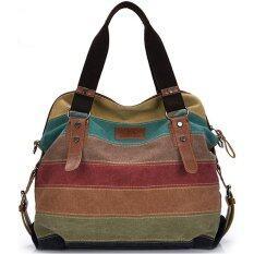 Wonderful Story Big Size: 37x36x15cm กระเป๋าแฟชั่น กระเป๋า Big Canvas Bag Rainbow Fashion Women Bag.