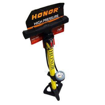 WORK : HONOR HAND PUMP อุปกรณ์/ที่สูบลมยาง รถยนต์ มอเตอร์ไซด์ จักรยานทั่วไป เสือหมอบ เสือภูเขา แบบตั้งพื้น ใช้มือสูบ มาพร้อมเกจ์วัดระดับลม(Yellow) HORNOR-002