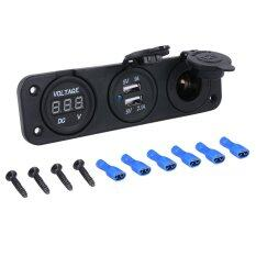 ราคา Xcsource 12V 24V Car Dual Usb Charger Power Adapter Cigarette Lighter Voltmeter ใหม่