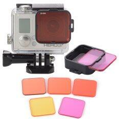 โปรโมชั่น Xcsource 5Pcs ชุดเลนส์ฟิลเตอร์ Diving Filter Kits Red Purple Yellow Lens Adapter สำหรับ Gopro Hero 4 3