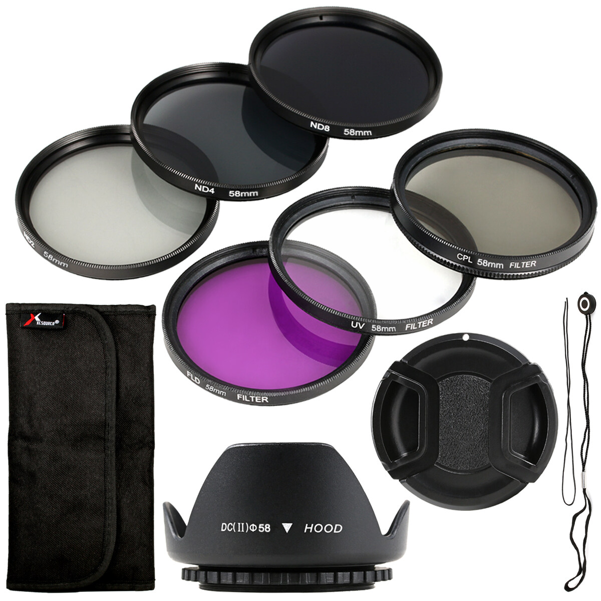 XCSource ชุดฟิลเตอร์  58mm Filter Set UV CPL FLD ND2 ND4 ND8 + Lens Hood + Cap สำหรับ Canon 18-55mm