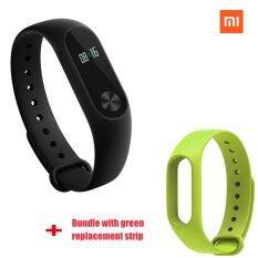ซื้อ Xiaomi Mi Band 2 สายรัดข้อมือเก๋บลูทูธ สีเขียวเส้นแทน มัด ออนไลน์ ถูก