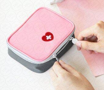 YHL กระเป๋าใส่ยา กล่องใส่ยา กระเป๋ายา กันน้ำ สำหรับเดินทาง ท่องเที่ยว ปฐมพยาบาล สำหรับ จัดระเบียบ อเนกประสงค์ Travel First-aid kitStorage kitMedical kit (สีชมพู)