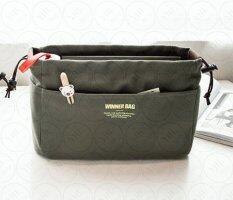 ขาย ซื้อ ออนไลน์ Yhl กระเป๋าจัดระเบียบ จัดเก็บอุปกรณ์ ผ้าแคนวาส เกรด พรีเมียม Premium Canvas Bag In Bag สีเขียว