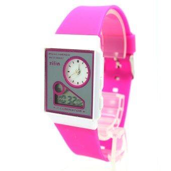Zilin Watch นาฬิกาข้อมือผู้หญิงและเด็ก สายยาง 2 ระบบ เข็มและDigital - Z0006 (Magenta)