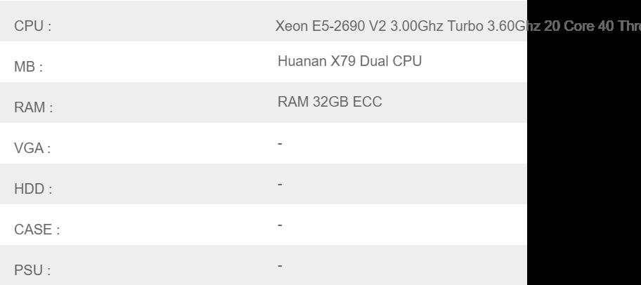 ชุด ซีพียู พร้อม เมนบอร์ด พร้อมใช้ Xeon E5-2690 V2 2 90Ghz Turbo 3 80Ghz 20  Core 40 Thread / Huanan X79 Dual CPU / RAM 32GB ECC (เปลี่ยนแปลงได้)