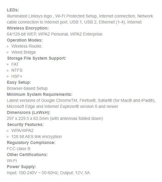 LINKSYS EA9300 Max-Stream AC4000 MU-MIMO Gigabit Wi-Fi Router