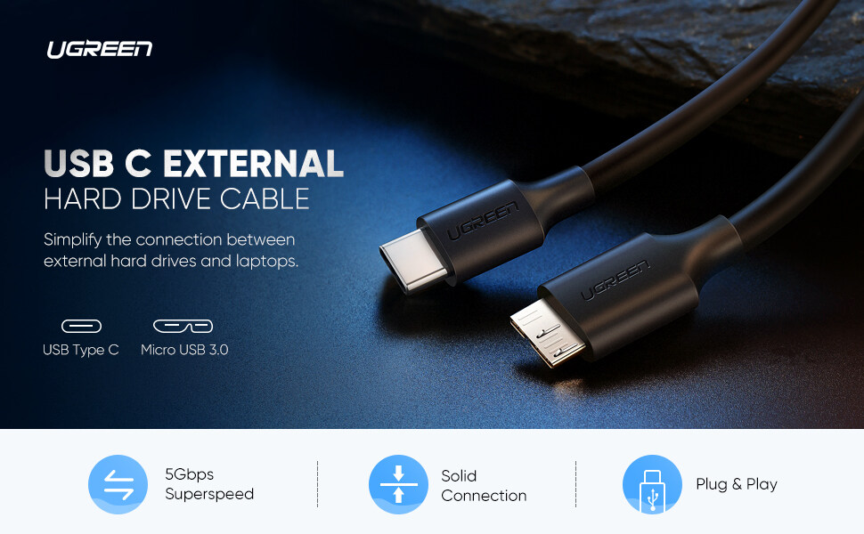 1m SuperSpeed USB 3.0 Type A to Micro B Cable For Hard Drive Samsung S5 Note3