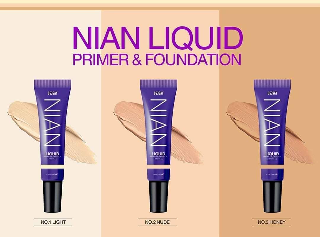 สินค้ามีตัวเลือก Deesay nian liquid primer & foundation SPF30 PA+++ 15g. รองพื้น ผสม ไพรเมอร์ ควบคุมความมัน และ กันแดด หรือ ฟองน้ำ หรือ Nian Smooth&Math foundation powder spf15 pa+++ แป้ง | Lazada.co.th