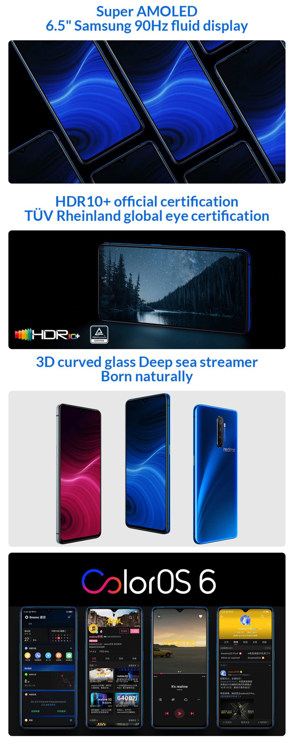 【มีเมนูไทย+GMS】Realme X2 Pro 6 5นิ้ว FHD+ Samsung 90Hz Fluid Super AMOLED  NFC 64MP Quad กล้องด้านหลัง 8GB RAM 128/256GB รอม Snapdragon 855 plus