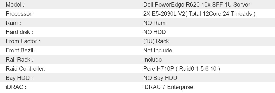 Dell PowerEdge R620 10x SFF 1U Server 2X E5-2630L V2 6Core 12Threads 15M  CACHE 2 4GHz ( Total 12Core 24 Threads ) NO RAM NO HDD NO BAY Dual 750W  Power